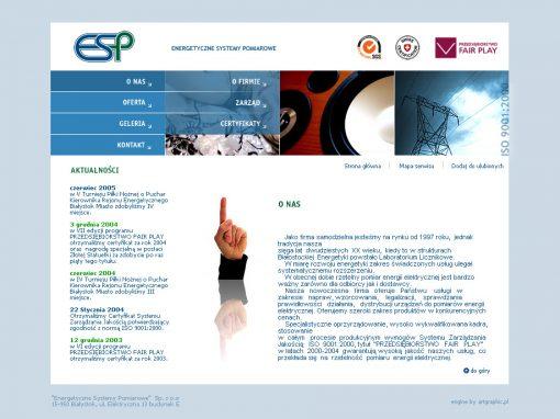 PROJEKT STRONY INTERNETOWEJ – ENERGETYCZNE SYSTEMY POMIAROWE